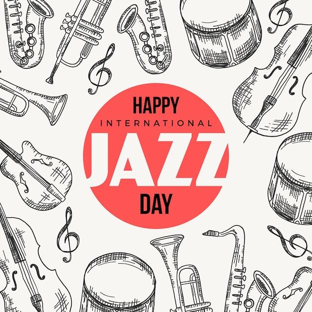 Ręcznie Rysowane Międzynarodowy Dzień Jazzu Darmowych Wektorów