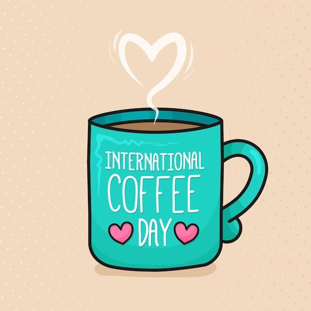 Ręcznie Rysowane Międzynarodowy Dzień Kawy Premium Wektorów