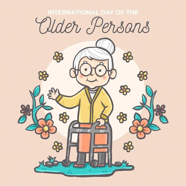 Ręcznie Rysowane Międzynarodowy Dzień Osób Starszych Darmowych Wektorów