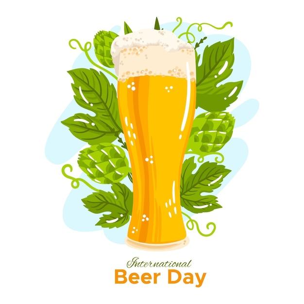 Ręcznie Rysowane Międzynarodowy Dzień Piwa Darmowych Wektorów