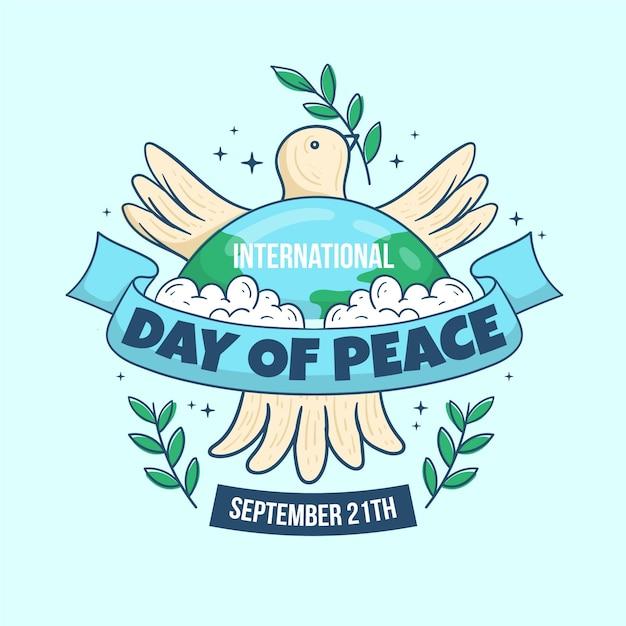 Ręcznie Rysowane Międzynarodowy Dzień Pokoju Darmowych Wektorów