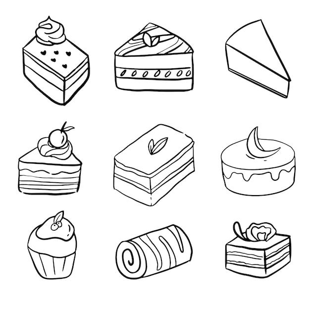 Ręcznie Rysowane Mini Ciasta Doodle Duży Zestaw Kolekcji Sztuki Linii Premium Wektorów
