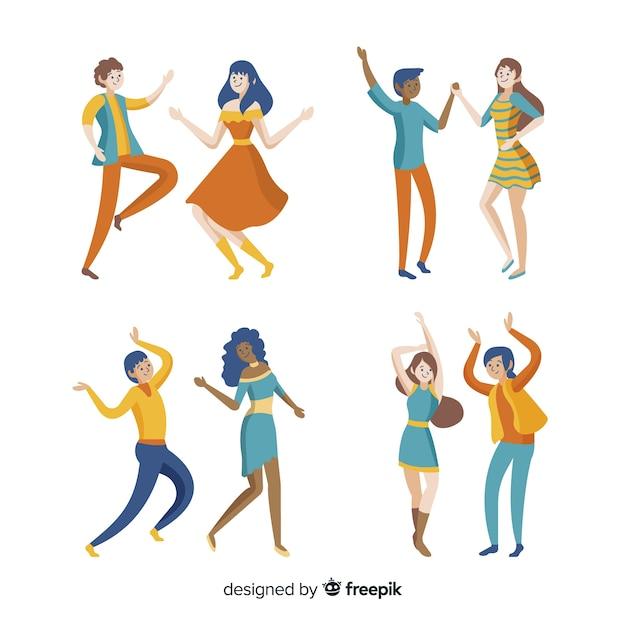 Ręcznie rysowane młodych ludzi tańczących Darmowych Wektorów
