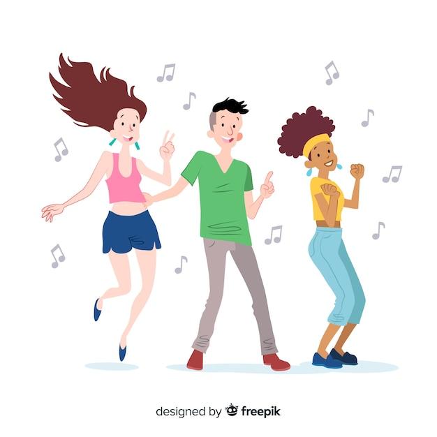 Ręcznie rysowane młodych ludzi tańczy paczka Darmowych Wektorów
