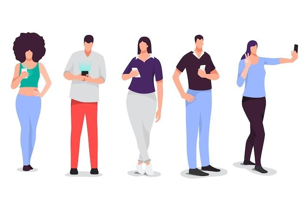 Ręcznie Rysowane Młodych Ludzi Za Pomocą Ilustracji Smartfonów Darmowych Wektorów