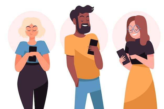 Ręcznie Rysowane Młodych Ludzi Za Pomocą Smartfonów Darmowych Wektorów
