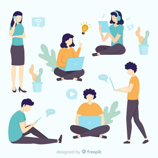 Ręcznie Rysowane Młodzi Ludzie Za Pomocą Technologicznego Zestawu Urządzeń Premium Wektorów