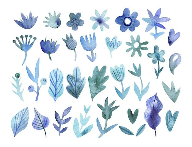 Ręcznie Rysowane Monochromatyczna Kolekcja Kwiatów W Kolorach Niebieskim Premium Wektorów