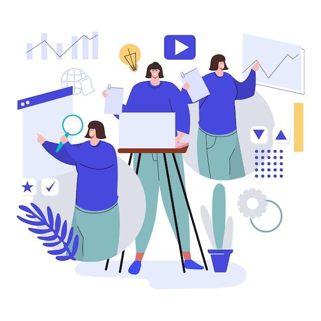Ręcznie Rysowane Multitask Business Woman Darmowych Wektorów