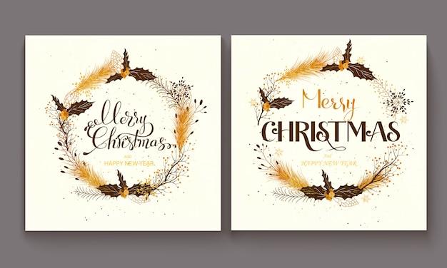Ręcznie rysowane napis wesołych świąt bożego narodzenia ilustracja. Premium Wektorów