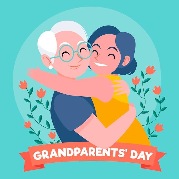 Ręcznie Rysowane Narodowego Dnia Dziadków Darmowych Wektorów