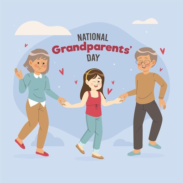 Ręcznie Rysowane Narodowy Dzień Dziadków Z Wnuczką Darmowych Wektorów