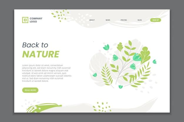 Ręcznie rysowane naturalne strony docelowej liści Darmowych Wektorów