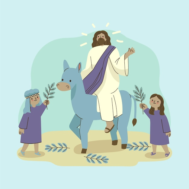 Ręcznie Rysowane Niedziela Palmowa Ilustracja Z Jezusem I Osłem Darmowych Wektorów