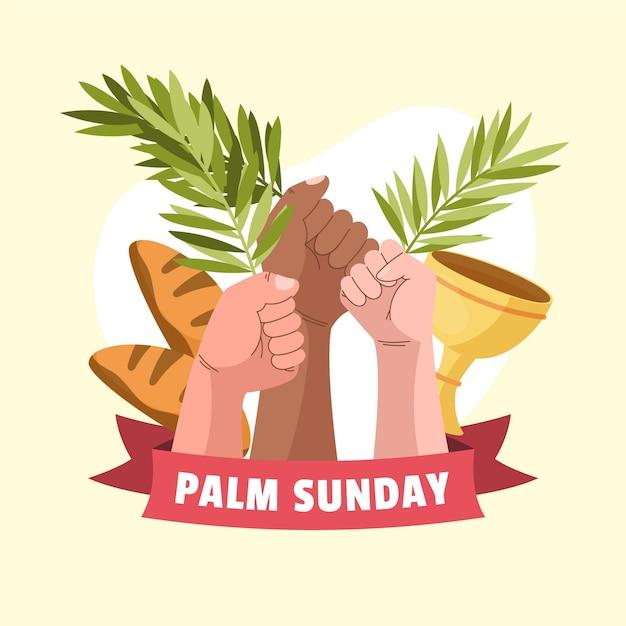 Ręcznie Rysowane Niedziela Palmowa Ilustracja Z Ręki Trzymającej Laury Darmowych Wektorów