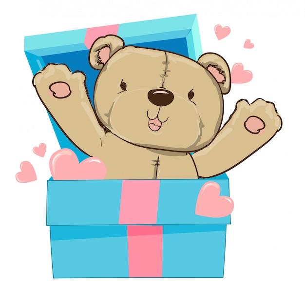Ręcznie rysowane niedźwiedź i serce, pudełko, ilustracji wektorowych. Premium Wektorów