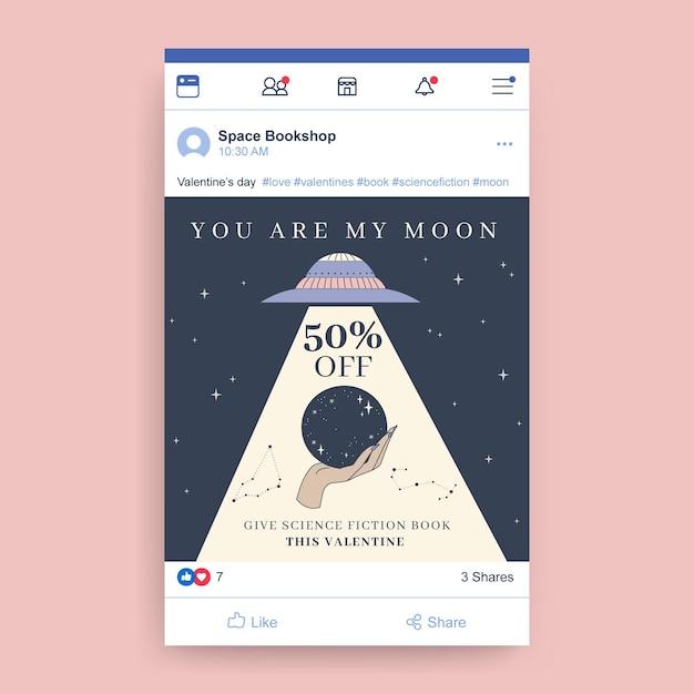 Ręcznie Rysowane Nowoczesny Post Na Facebooku W Walentynki Darmowych Wektorów