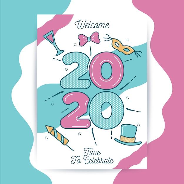Ręcznie rysowane nowy rok 2020 szablon ulotki partii Darmowych Wektorów