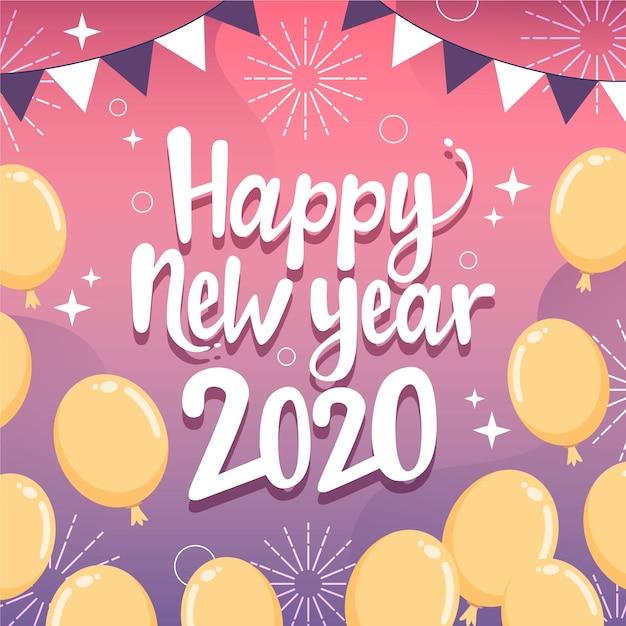 Ręcznie rysowane nowy rok 2020 Darmowych Wektorów