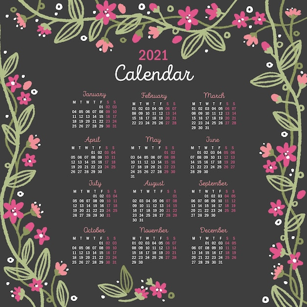 Ręcznie Rysowane Nowy Rok 2021 Kalendarz Z Kwiatami Premium Wektorów