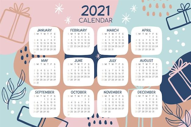 Ręcznie Rysowane Nowy Rok Kalendarzowy 2021 Premium Wektorów