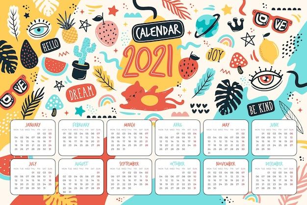 Ręcznie Rysowane Nowy Rok Kalendarzowy 2021 Darmowych Wektorów