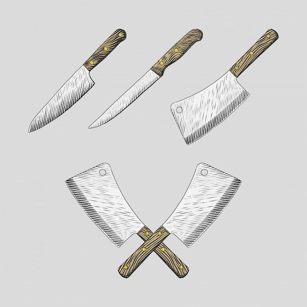 Ręcznie rysowane noże kuchenne ustawić ilustracje Premium Wektorów