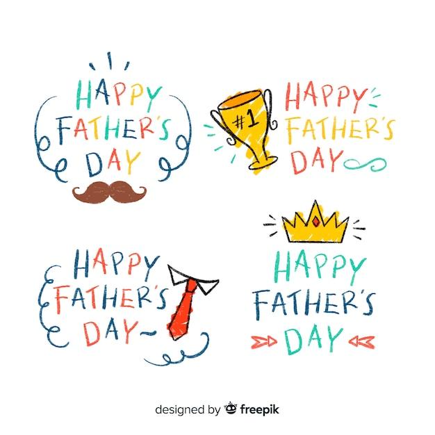 Ręcznie Rysowane Odznaka Dzień Ojca Darmowych Wektorów