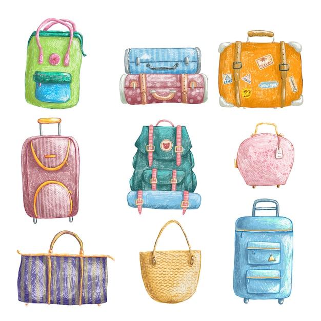 Ręcznie rysowane ołówek zestaw toreb podróżnych Premium Wektorów