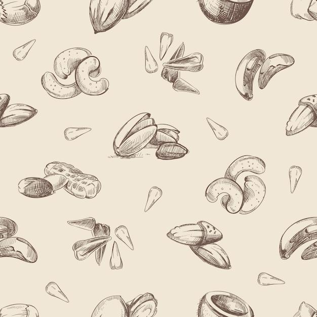Ręcznie rysowane orzechy gryzmoły wzór Premium Wektorów
