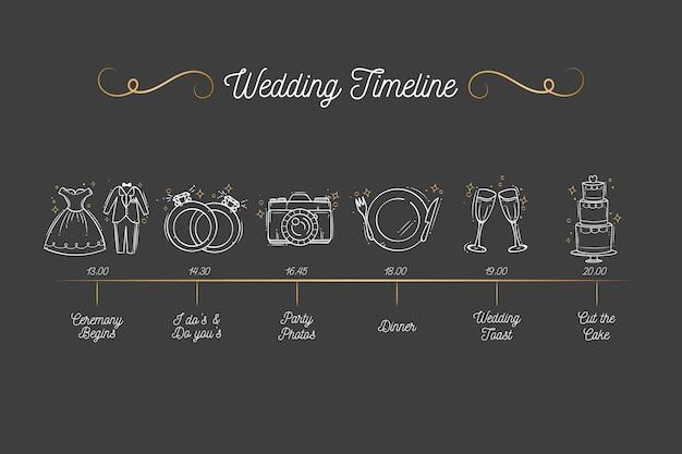 Ręcznie rysowane oś czasu ślubu Darmowych Wektorów