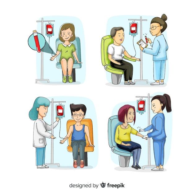 Ręcznie Rysowane Osoby Oddające Krew Darmowych Wektorów