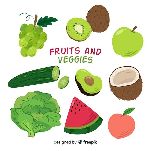Ręcznie rysowane owoce i warzywa kolekcja Darmowych Wektorów