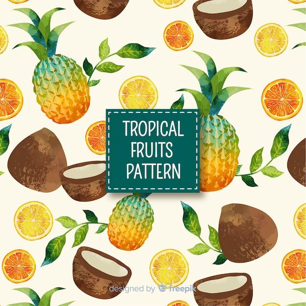 Ręcznie rysowane owoce tropikalne wzór Darmowych Wektorów