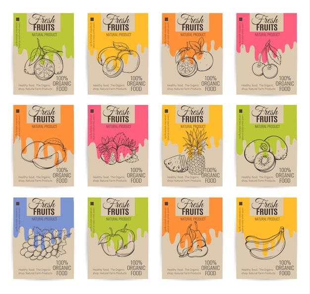 Ręcznie Rysowane Owoce Zestaw Plakatów. Premium Wektorów