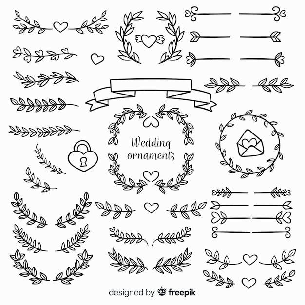 Ręcznie rysowane ozdoby ślubne kwiatowy Darmowych Wektorów