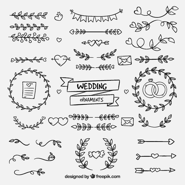 Ręcznie rysowane ozdoby ślubne Darmowych Wektorów