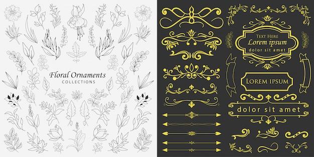 Ręcznie rysowane ozdoby z kwiatów wektor Premium Wektorów
