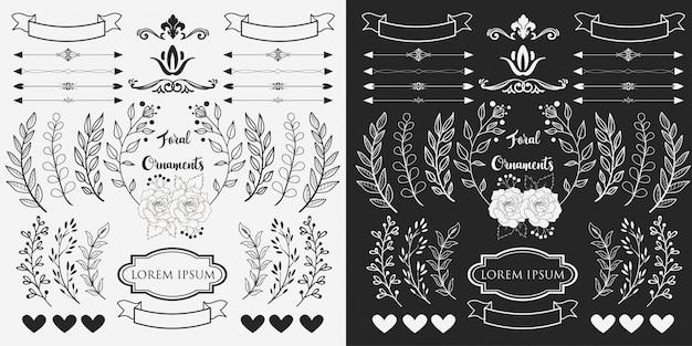 Ręcznie rysowane ozdoby z kwiatów Premium Wektorów