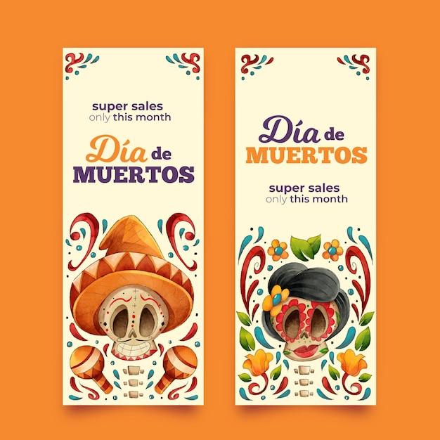 Ręcznie Rysowane Pakiet Banerów Día De Muertos Darmowych Wektorów