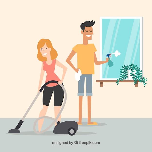 Ręcznie rysowane para czyszczenia domu Darmowych Wektorów
