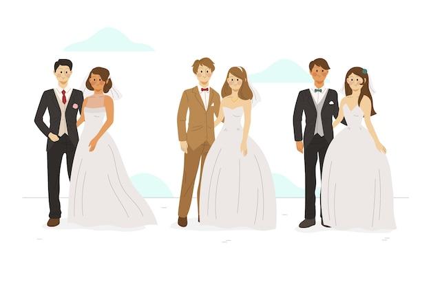 Ręcznie Rysowane Pary Małżeńskie Darmowych Wektorów