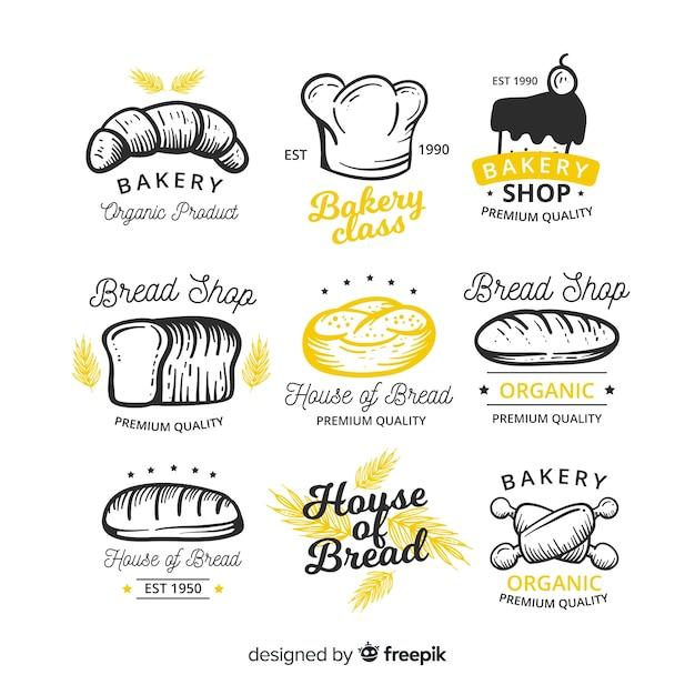 Ręcznie rysowane piekarnia kolekcja odznak Darmowych Wektorów