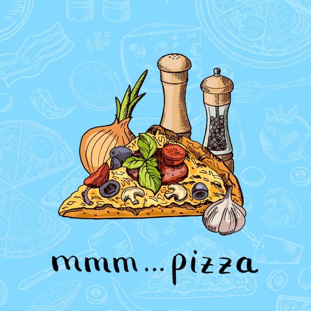 Ręcznie rysowane pizza, przyprawy, cebula i stos czosnku z napisem na składniki pizzy Premium Wektorów
