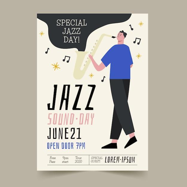 Ręcznie Rysowane Plakat Międzynarodowego Dnia Jazzu Darmowych Wektorów
