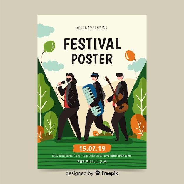 Ręcznie Rysowane Plakat Na Festiwal Muzyczny Darmowych Wektorów