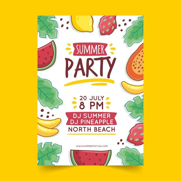 Ręcznie Rysowane Plakat Party Lato Darmowych Wektorów