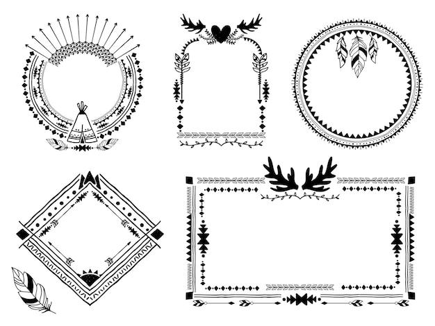 Ręcznie Rysowane Plemienne Ramki. Vintage Granicy, Element Dekoracji Etnicznej Sztuki, Ilustracji Wektorowych Darmowych Wektorów