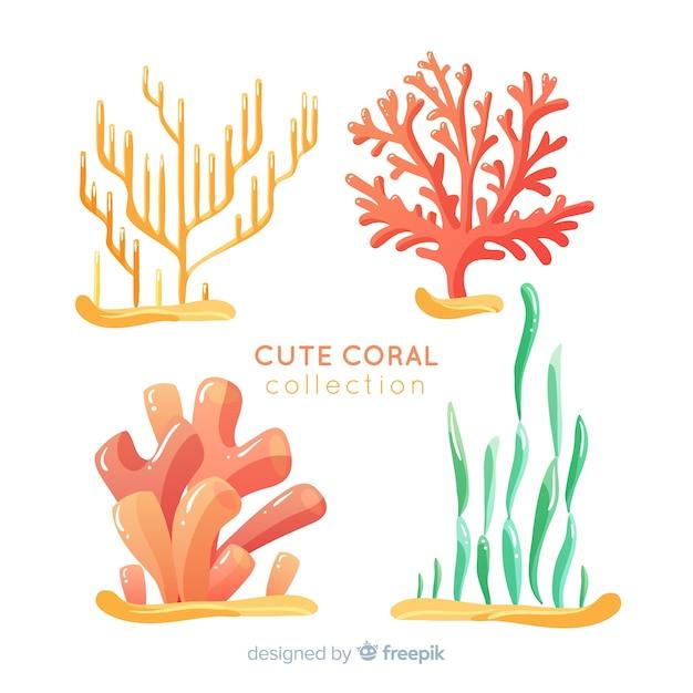 Ręcznie Rysowane Podwodna Kolekcja Koralowców Darmowych Wektorów