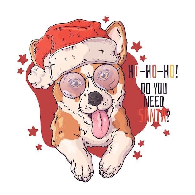 Ręcznie rysowane portret psa corgi w boże narodzenie akcesoria Premium Wektorów